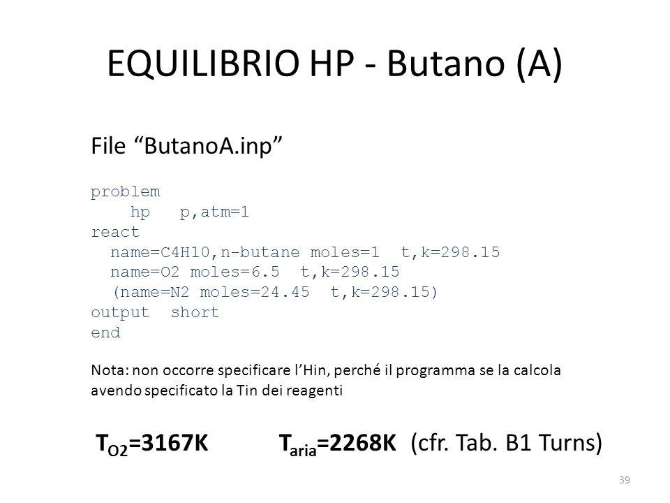 "EQUILIBRIO HP - Butano (A) File ""ButanoA.inp"" problem hp p,atm=1 react name=C4H10,n-butane moles=1 t,k=298.15 name=O2 moles=6.5 t,k=298.15 (name=N2 mo"