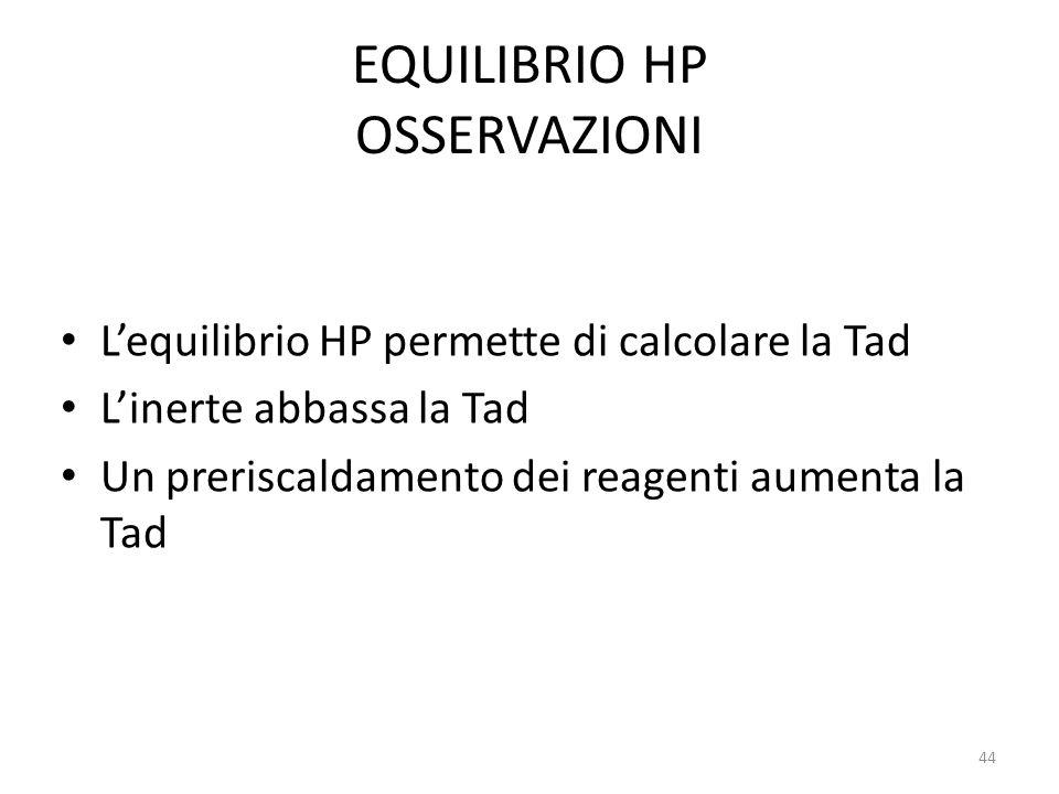 EQUILIBRIO HP OSSERVAZIONI L'equilibrio HP permette di calcolare la Tad L'inerte abbassa la Tad Un preriscaldamento dei reagenti aumenta la Tad 44