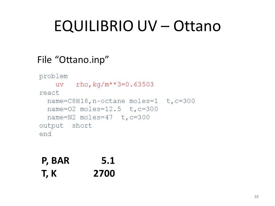 "EQUILIBRIO UV – Ottano File ""Ottano.inp"" problem uv rho,kg/m**3=0.63503 react name=C8H18,n-octane moles=1 t,c=300 name=O2 moles=12.5 t,c=300 name=N2 m"