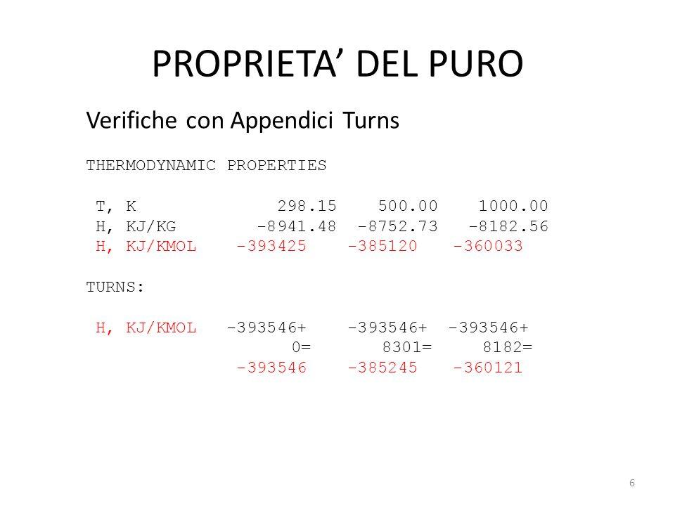 PROPRIETA' DEL PURO Verifiche con Appendici Turns THERMODYNAMIC PROPERTIES T, K 298.15 500.00 1000.00 H, KJ/KG -8941.48 -8752.73 -8182.56 H, KJ/KMOL -