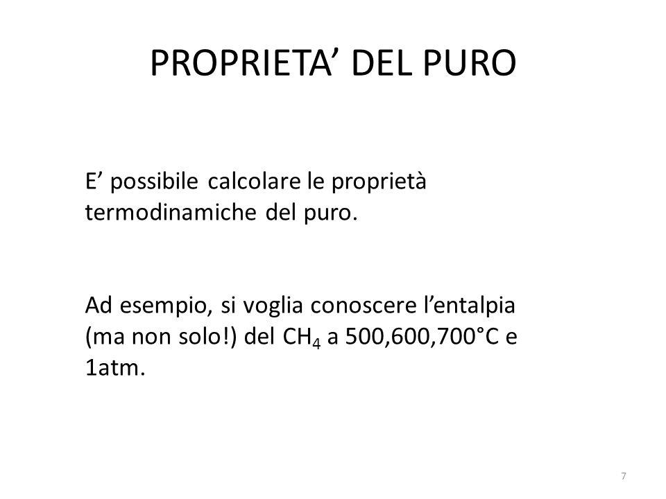 PROPRIETA' DEL PURO E' possibile calcolare le proprietà termodinamiche del puro. Ad esempio, si voglia conoscere l'entalpia (ma non solo!) del CH 4 a