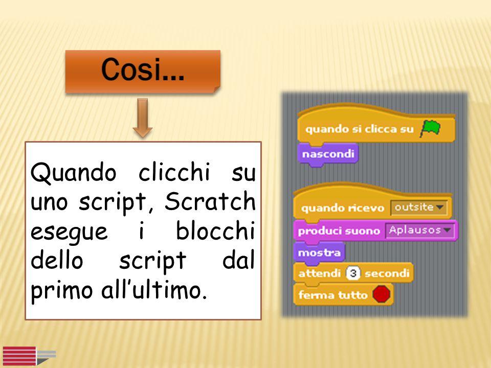 Quando clicchi su uno script, Scratch esegue i blocchi dello script dal primo all'ultimo.