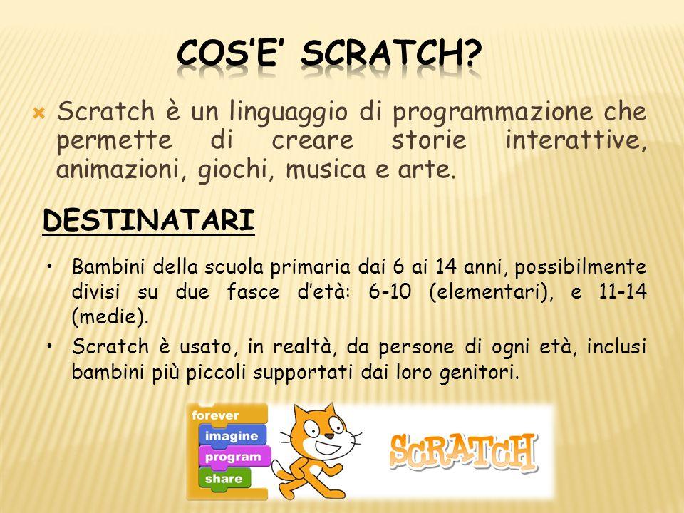  Scratch è un linguaggio di programmazione che permette di creare storie interattive, animazioni, giochi, musica e arte. DESTINATARI Bambini della sc
