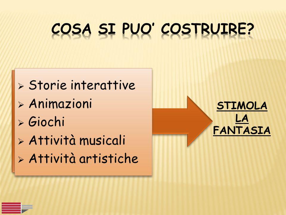  Storie interattive  Animazioni  Giochi  Attività musicali  Attività artistiche  Storie interattive  Animazioni  Giochi  Attività musicali 
