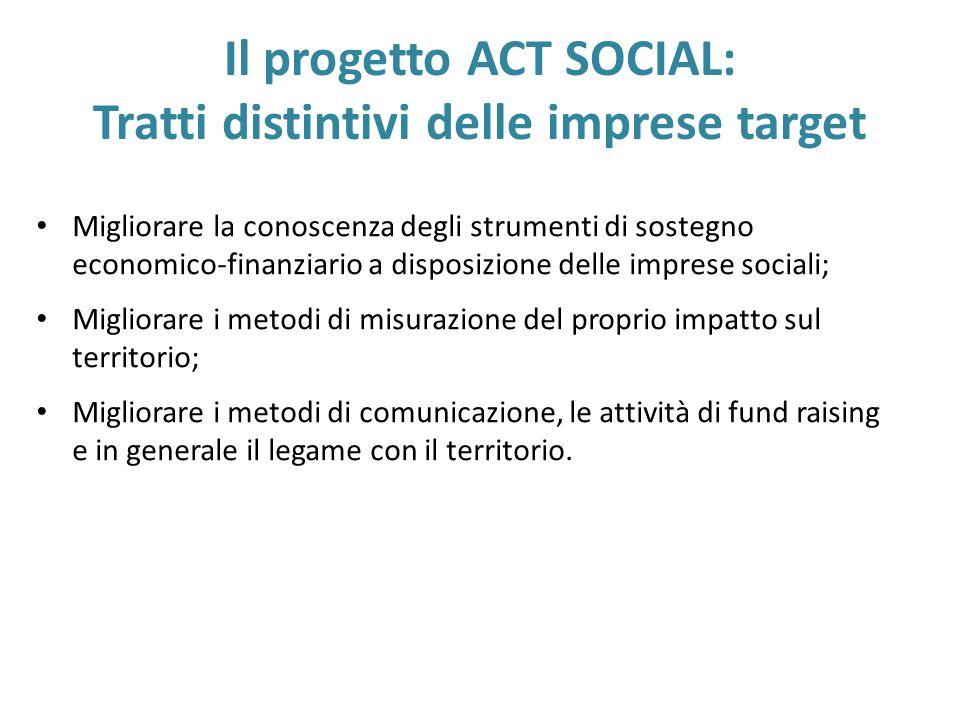 Migliorare la conoscenza degli strumenti di sostegno economico-finanziario a disposizione delle imprese sociali; Migliorare i metodi di misurazione de