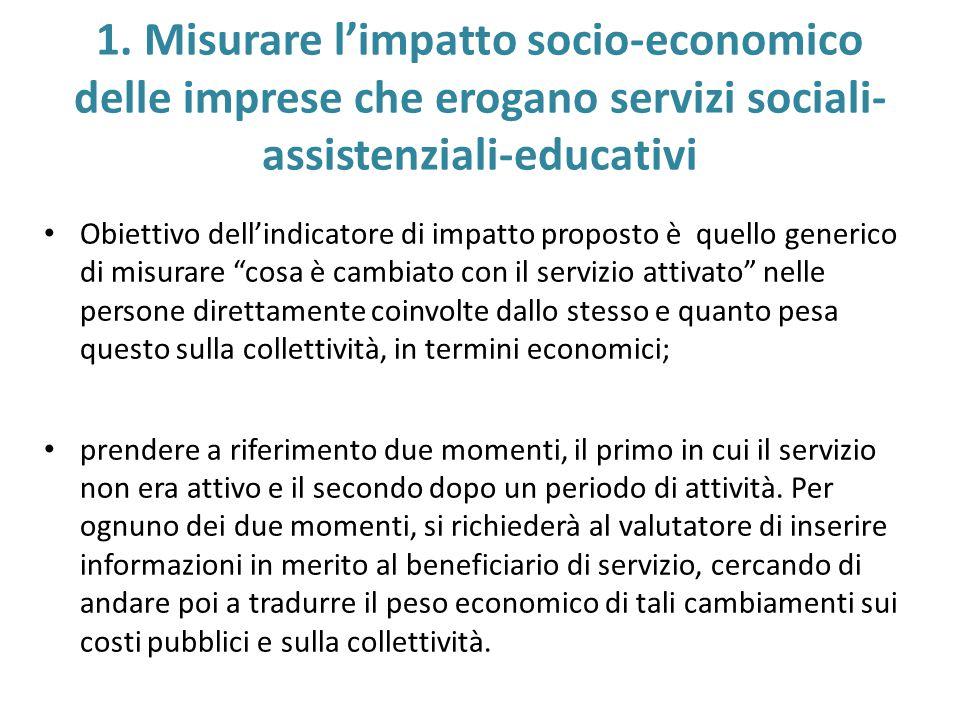 1. Misurare l'impatto socio-economico delle imprese che erogano servizi sociali- assistenziali-educativi Obiettivo dell'indicatore di impatto proposto