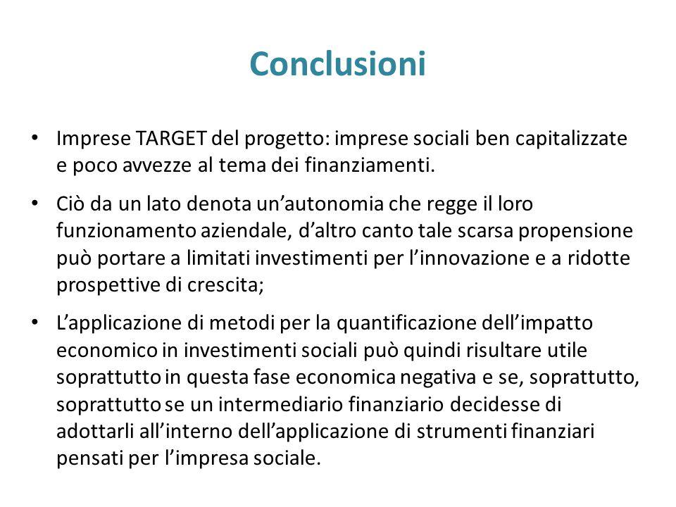 Conclusioni Imprese TARGET del progetto: imprese sociali ben capitalizzate e poco avvezze al tema dei finanziamenti. Ciò da un lato denota un'autonomi