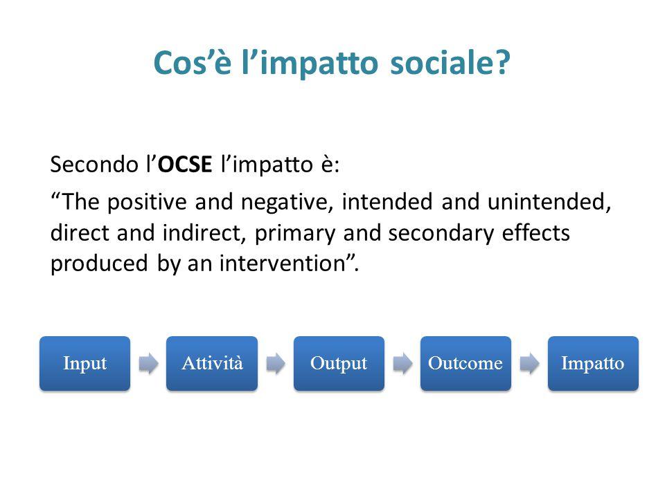 """Cos'è l'impatto sociale? Secondo l'OCSE l'impatto è: """"The positive and negative, intended and unintended, direct and indirect, primary and secondary e"""