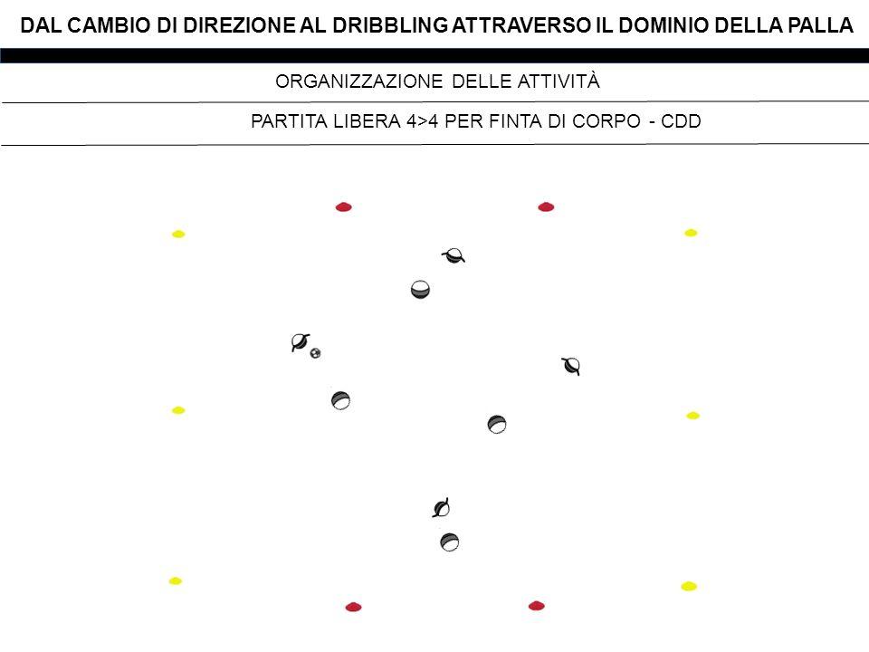 DAL CAMBIO DI DIREZIONE AL DRIBBLING ATTRAVERSO IL DOMINIO DELLA PALLA PARTITA LIBERA 4>4 PER FINTA DI CORPO - CDD ORGANIZZAZIONE DELLE ATTIVITÀ