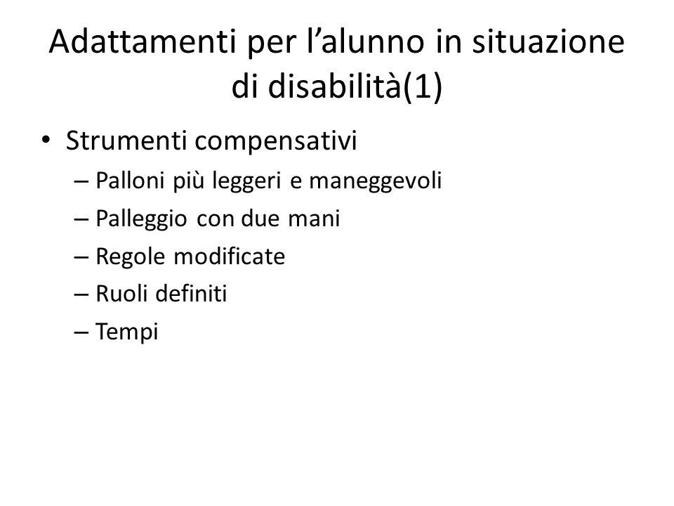 Adattamenti per l'alunno in situazione di disabilità(1) Strumenti compensativi – Palloni più leggeri e maneggevoli – Palleggio con due mani – Regole m