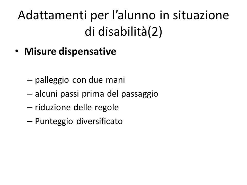 Adattamenti per l'alunno in situazione di disabilità(2) Misure dispensative – palleggio con due mani – alcuni passi prima del passaggio – riduzione de