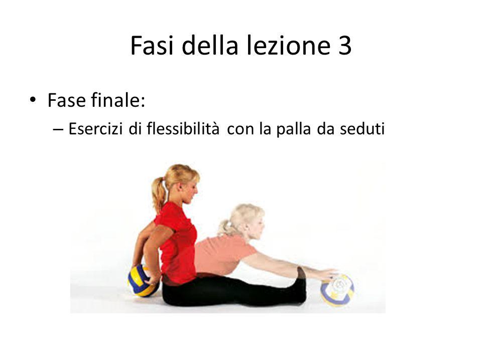Fasi della lezione 3 Fase finale: – Esercizi di flessibilità con la palla da seduti