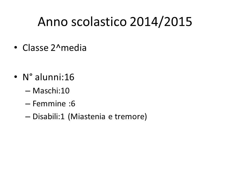 Anno scolastico 2014/2015 Classe 2^media N° alunni:16 – Maschi:10 – Femmine :6 – Disabili:1 (Miastenia e tremore)