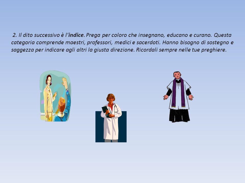 2.Il dito successivo è l'indice. Prega per coloro che insegnano, educano e curano.