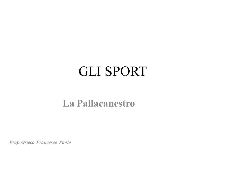 GLI SPORT La Pallacanestro Prof. Grieco Francesco Paolo