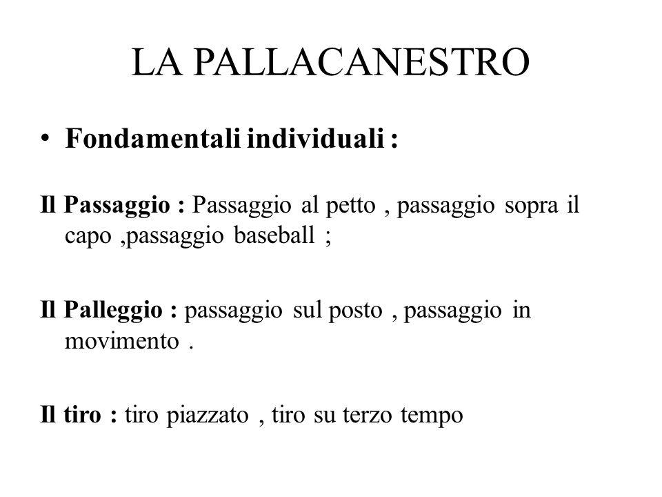 LA PALLACANESTRO Fondamentali individuali : Il Passaggio : Passaggio al petto, passaggio sopra il capo,passaggio baseball ; Il Palleggio : passaggio s