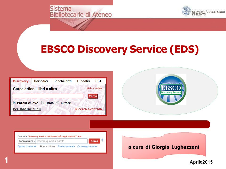 EBSCO Discovery Service (EDS) Aprile2015 1 a cura di Giorgia Lughezzani