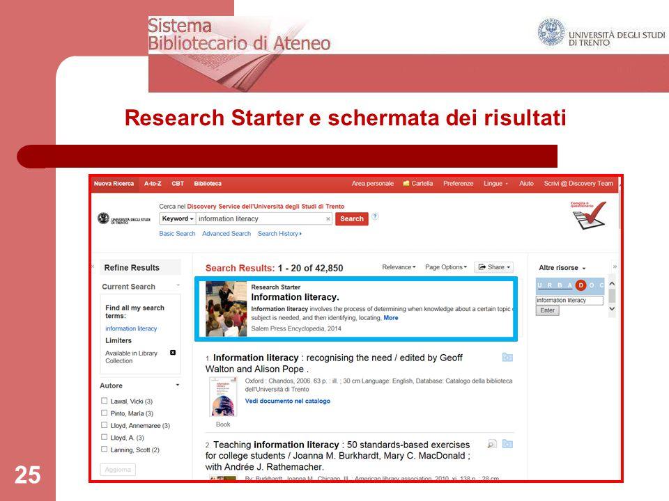 Research Starter e schermata dei risultati 25
