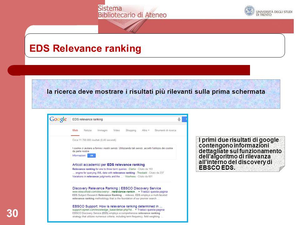 EDS Relevance ranking 30 la ricerca deve mostrare i risultati più rilevanti sulla prima schermata I primi due risultati di google contengono informazi