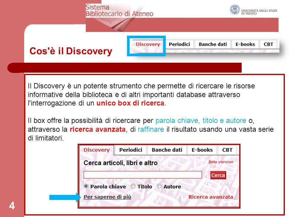 65 Lista risultati Per ogni risorsa trovata il discovery riporta il record bibliografico (con tutti i dati: titolo, autore,data, soggetti) e un link al full-text (quando disponibile).
