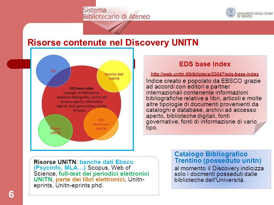 Risorse contenute nel Discovery UNITN 6 EDS base index http://web.unitn.it/biblioteca/33047/eds-base-index Indice creato e popolato da EBSCO grazie ad