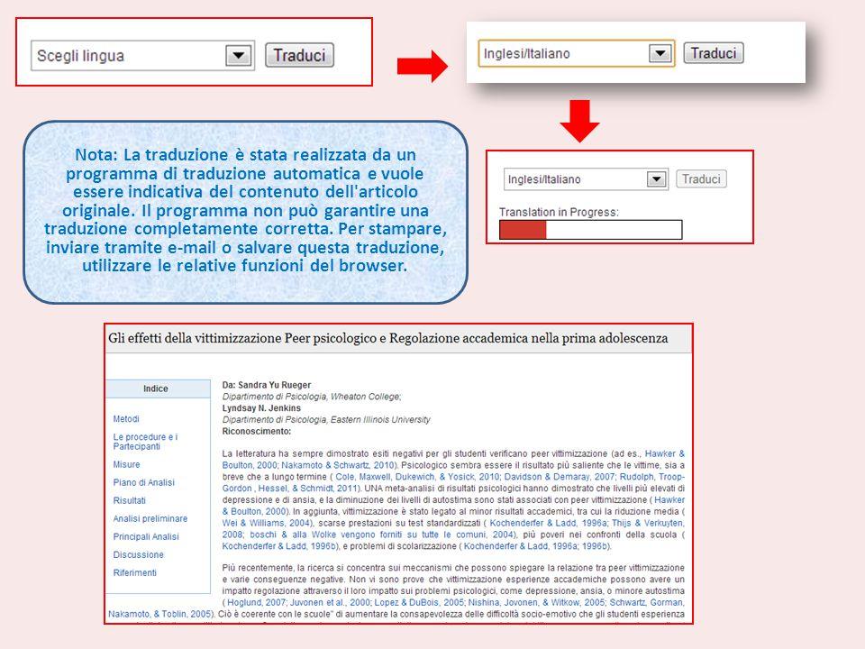Nota: La traduzione è stata realizzata da un programma di traduzione automatica e vuole essere indicativa del contenuto dell'articolo originale. Il pr