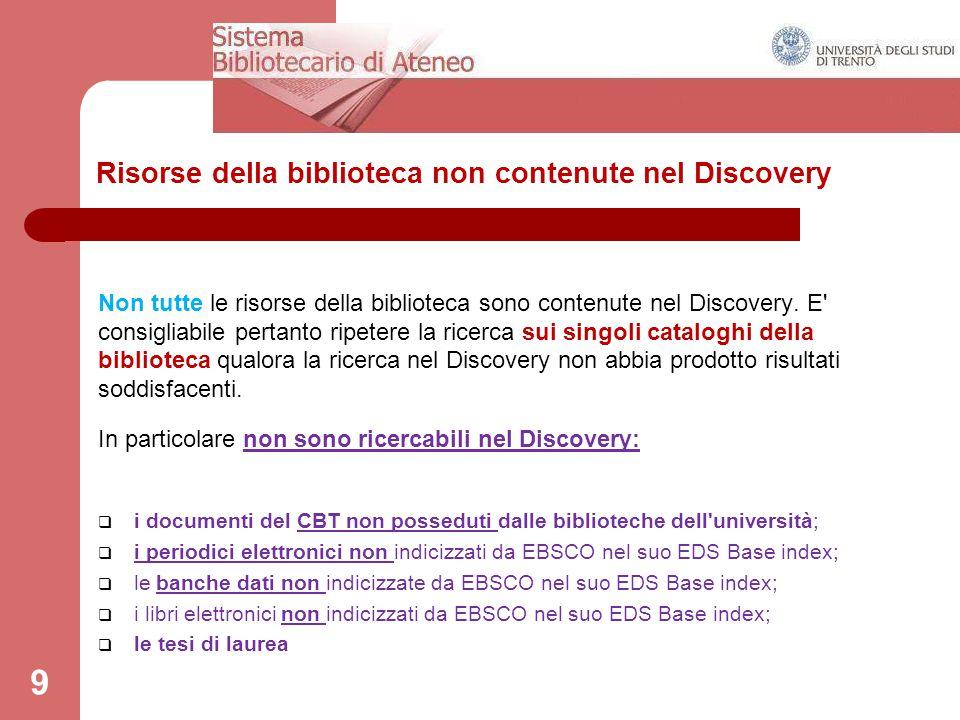 Risorse della biblioteca non contenute nel Discovery 9 Non tutte le risorse della biblioteca sono contenute nel Discovery. E' consigliabile pertanto r