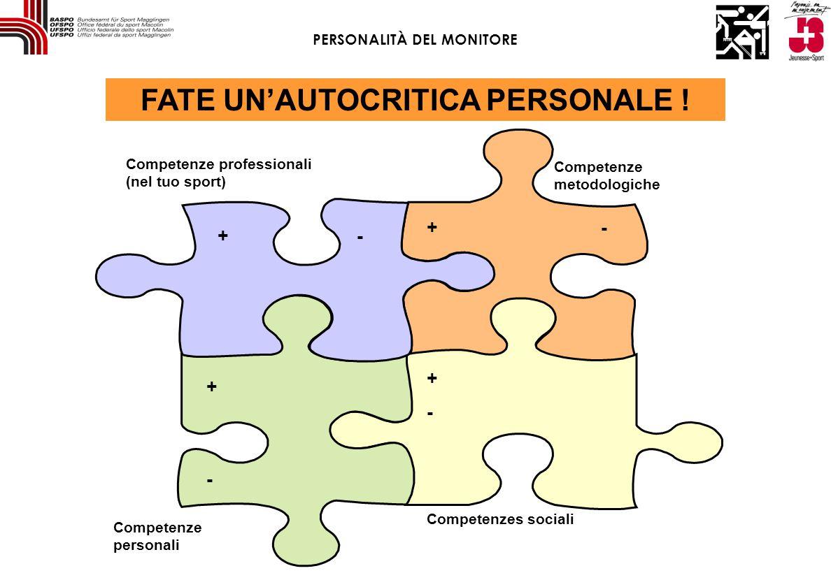 + Competenze professionali (nel tuo sport) Competenzes sociali Competenze metodologiche Competenze personali + + + - - - - FATE UN'AUTOCRITICA PERSONALE .