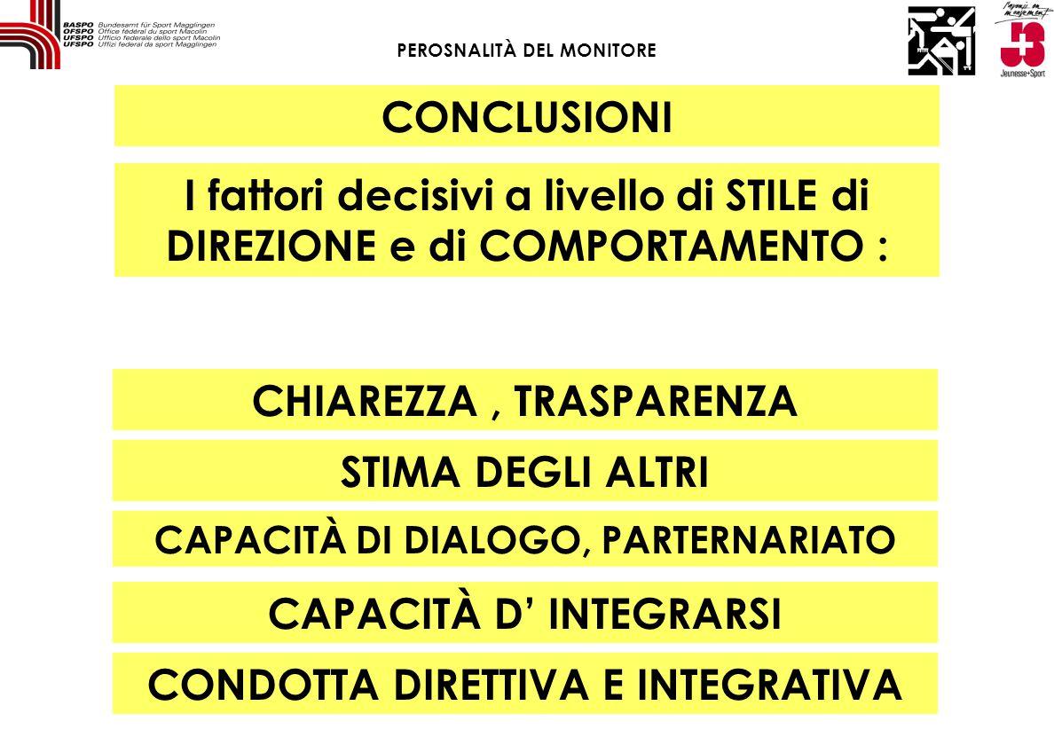 I fattori decisivi a livello di STILE di DIREZIONE e di COMPORTAMENTO : CHIAREZZA, TRASPARENZA CONCLUSIONI STIMA DEGLI ALTRI CAPACITÀ DI DIALOGO, PART