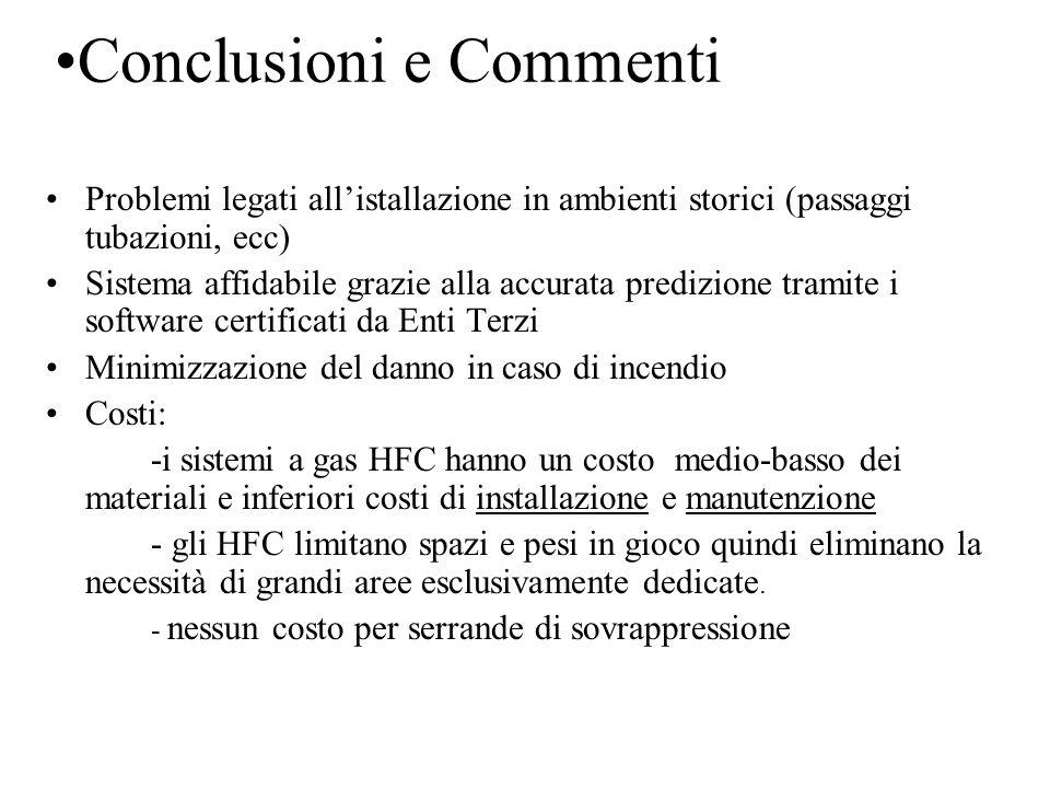 Conclusioni e Commenti Problemi legati all'istallazione in ambienti storici (passaggi tubazioni, ecc) Sistema affidabile grazie alla accurata predizio