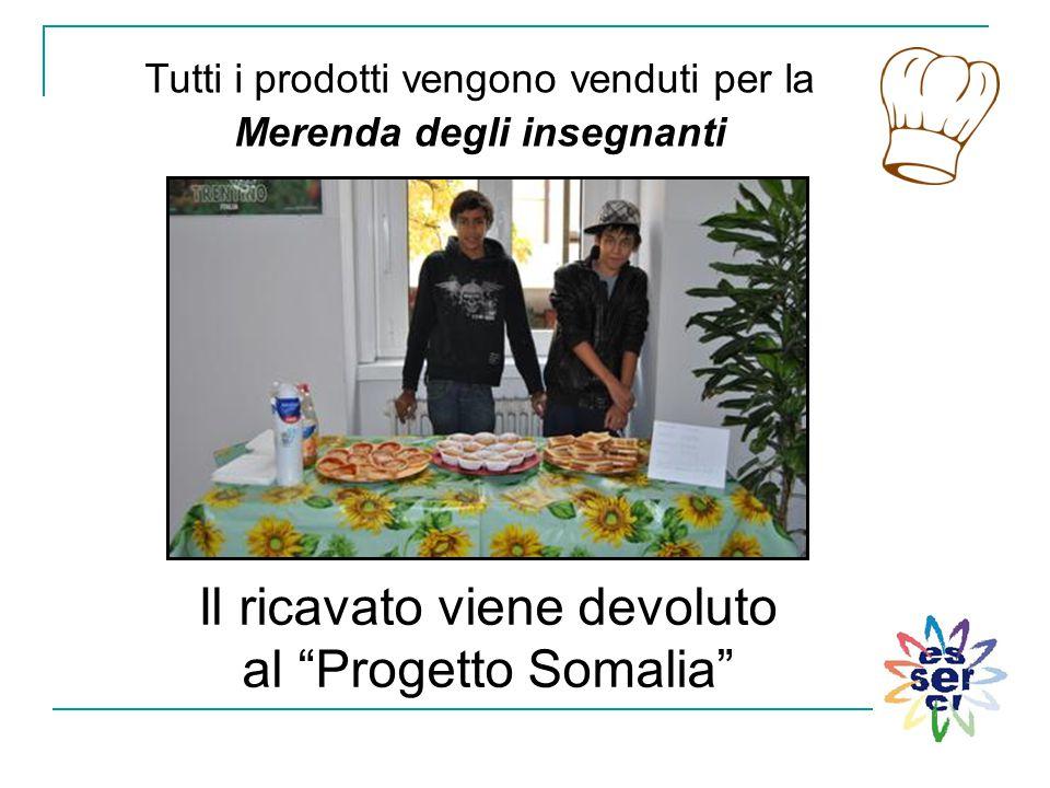 """Il ricavato viene devoluto al """"Progetto Somalia"""" Tutti i prodotti vengono venduti per la Merenda degli insegnanti"""