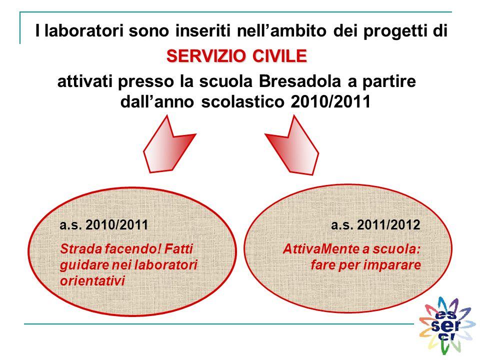 I laboratori sono inseriti nell'ambito dei progetti di SERVIZIO CIVILE attivati presso la scuola Bresadola a partire dall'anno scolastico 2010/2011 a.