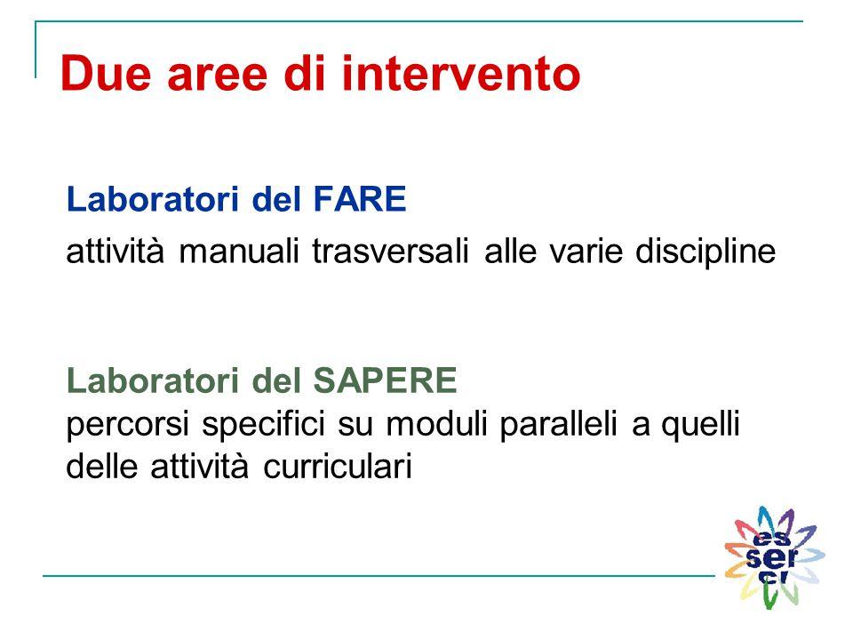 Due aree di intervento Laboratori del FARE attività manuali trasversali alle varie discipline Laboratori del SAPERE percorsi specifici su moduli paral