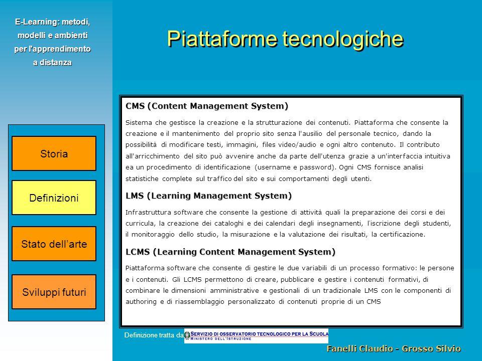 Fanelli Claudio - Grosso Silvio E-Learning: metodi, modelli e ambienti per l apprendimento a distanza CMS (Content Management System) Sistema che gestisce la creazione e la strutturazione dei contenuti.