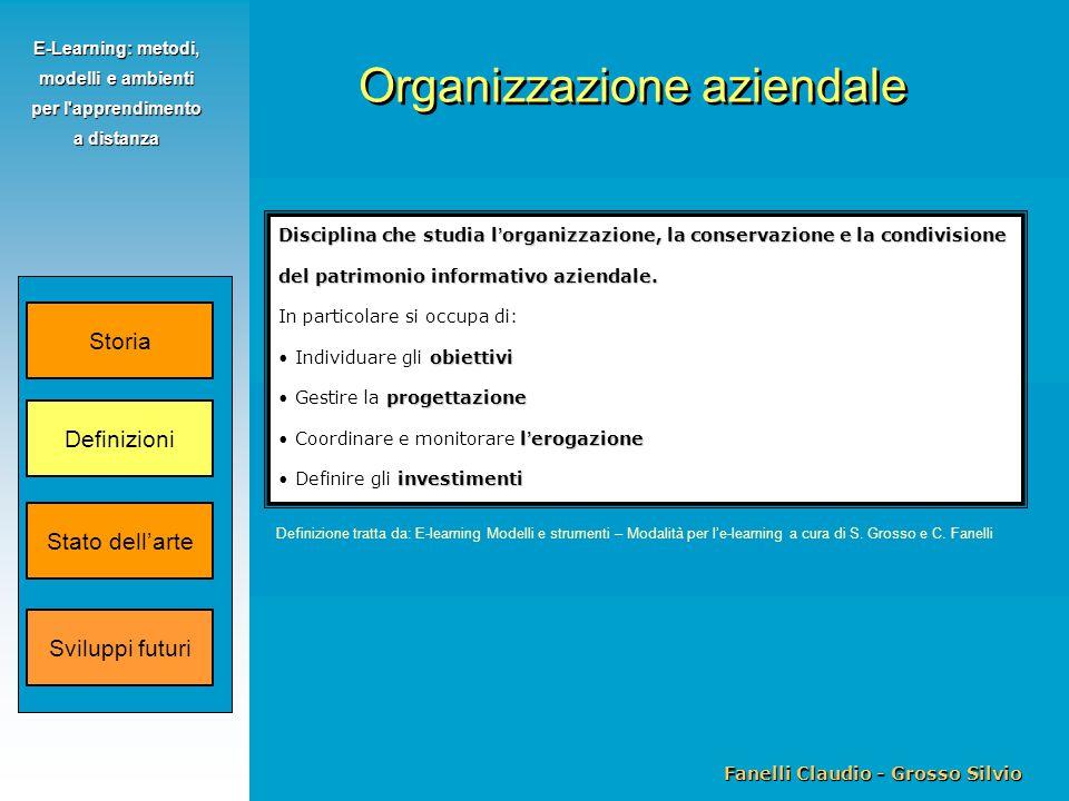 Fanelli Claudio - Grosso Silvio E-Learning: metodi, modelli e ambienti per l apprendimento a distanza Disciplina che studia l ' organizzazione, la conservazione e la condivisione del patrimonio informativo aziendale.