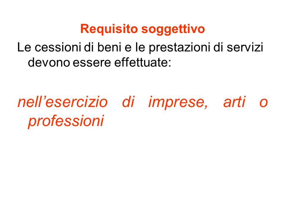 Requisito soggettivo Le cessioni di beni e le prestazioni di servizi devono essere effettuate: nell'esercizio di imprese, arti o professioni