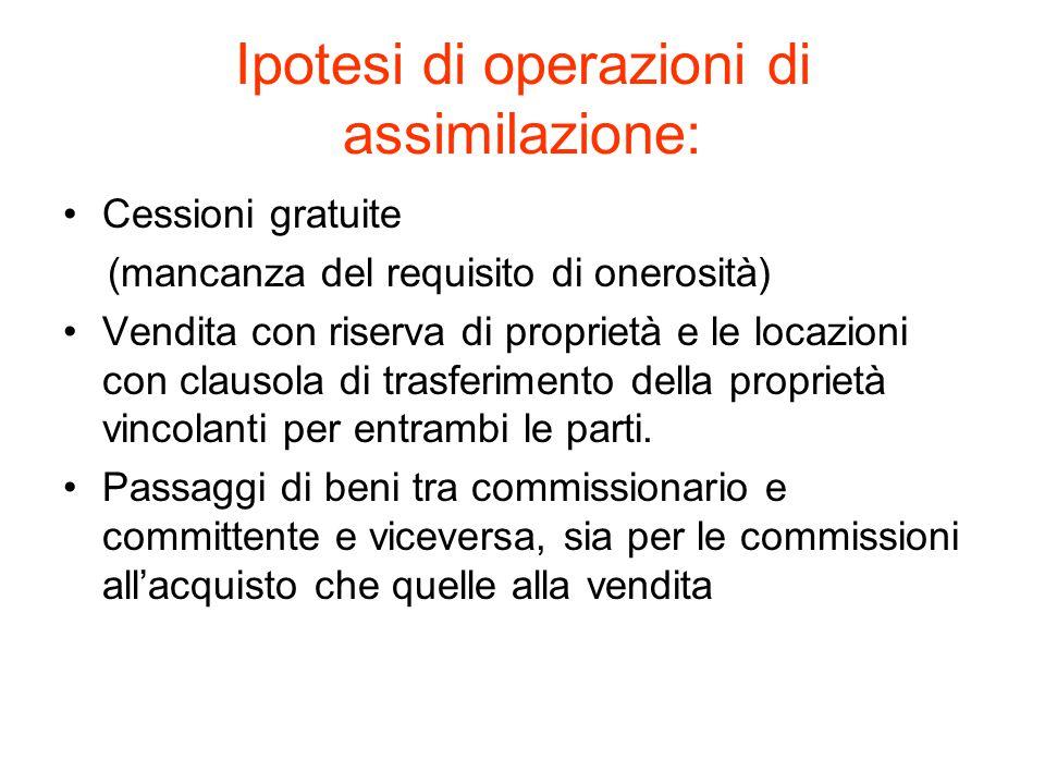Ipotesi di operazioni di assimilazione: Cessioni gratuite (mancanza del requisito di onerosità) Vendita con riserva di proprietà e le locazioni con clausola di trasferimento della proprietà vincolanti per entrambi le parti.