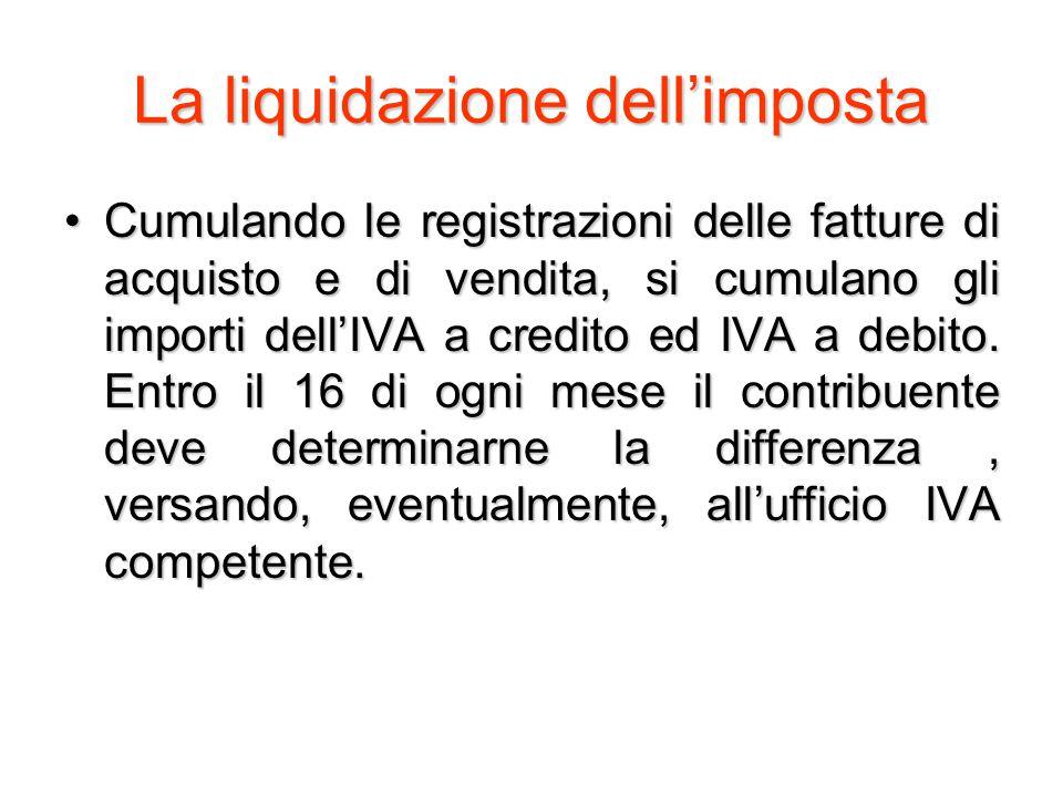 La liquidazione dell'imposta Cumulando le registrazioni delle fatture di acquisto e di vendita, si cumulano gli importi dell'IVA a credito ed IVA a debito.