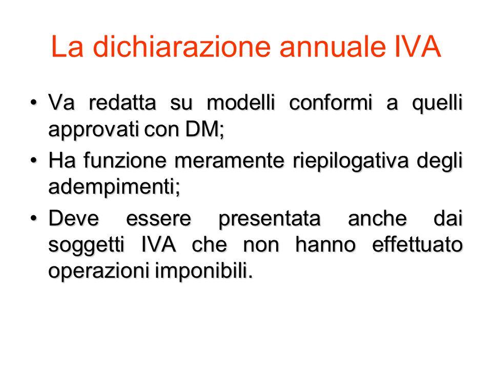 La dichiarazione annuale IVA Va redatta su modelli conformi a quelli approvati con DM;Va redatta su modelli conformi a quelli approvati con DM; Ha funzione meramente riepilogativa degli adempimenti;Ha funzione meramente riepilogativa degli adempimenti; Deve essere presentata anche dai soggetti IVA che non hanno effettuato operazioni imponibili.Deve essere presentata anche dai soggetti IVA che non hanno effettuato operazioni imponibili.