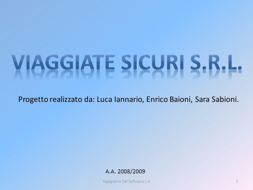 1Ingegneria Del Software L-A Progetto realizzato da: Luca Iannario, Enrico Baioni, Sara Sabioni.