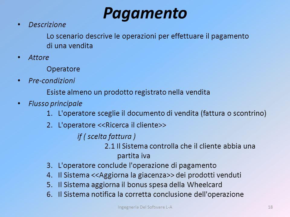 Pagamento Descrizione Lo scenario descrive le operazioni per effettuare il pagamento di una vendita Attore Operatore Pre-condizioni Esiste almeno un p