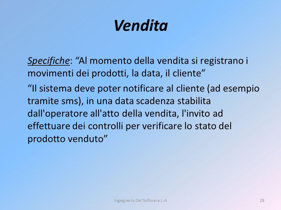 """Specifiche: """"Al momento della vendita si registrano i movimenti dei prodotti, la data, il cliente"""" """"Il sistema deve poter notificare al cliente (ad es"""