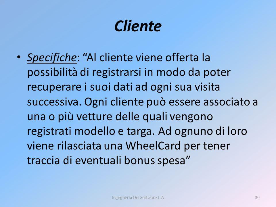 """Specifiche: """"Al cliente viene offerta la possibilità di registrarsi in modo da poter recuperare i suoi dati ad ogni sua visita successiva. Ogni client"""