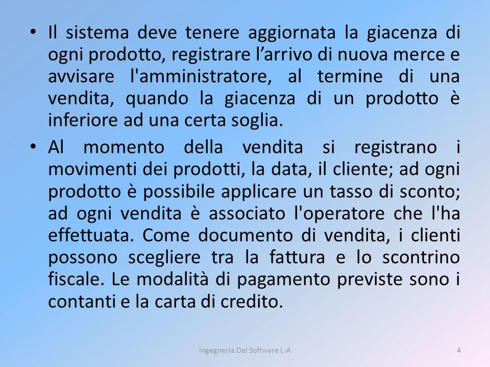 Il sistema deve tenere aggiornata la giacenza di ogni prodotto, registrare l'arrivo di nuova merce e avvisare l'amministratore, al termine di una vend