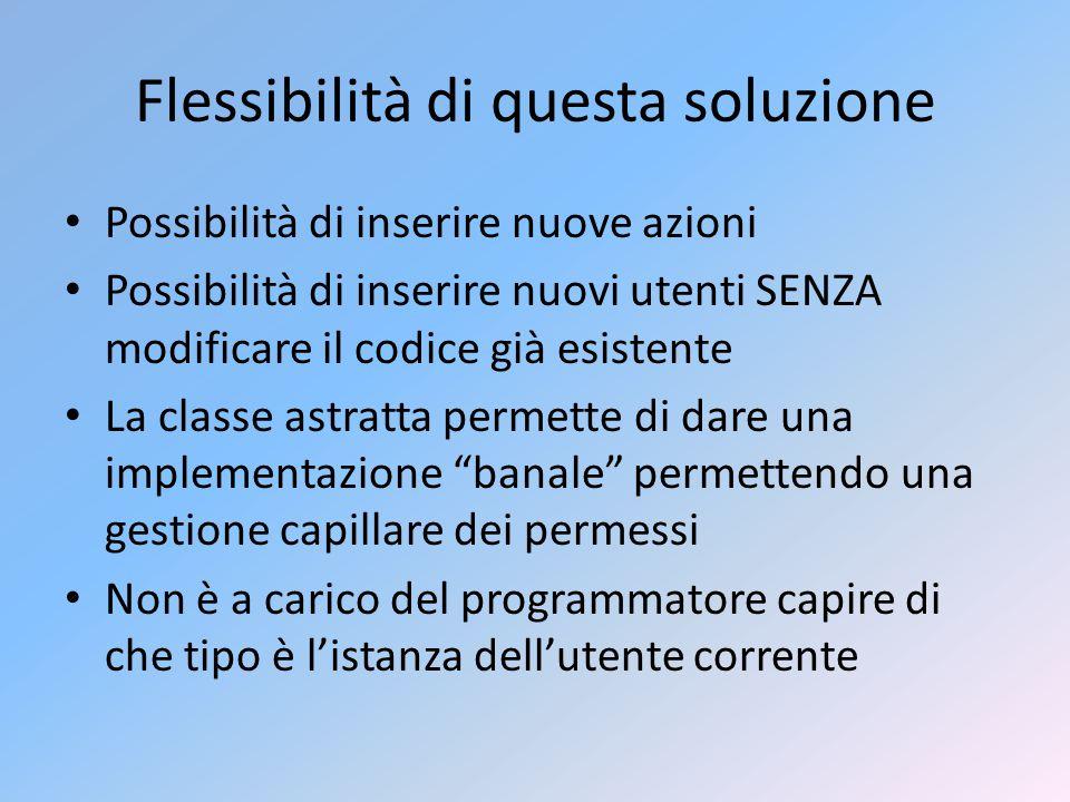 Flessibilità di questa soluzione Possibilità di inserire nuove azioni Possibilità di inserire nuovi utenti SENZA modificare il codice già esistente La