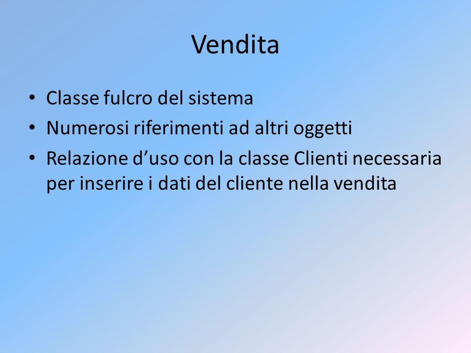 Vendita Classe fulcro del sistema Numerosi riferimenti ad altri oggetti Relazione d'uso con la classe Clienti necessaria per inserire i dati del cliente nella vendita