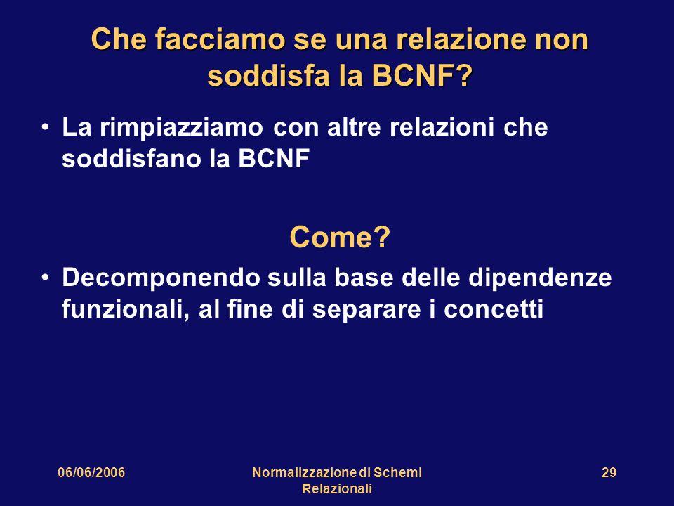 06/06/2006Normalizzazione di Schemi Relazionali 29 Che facciamo se una relazione non soddisfa la BCNF.