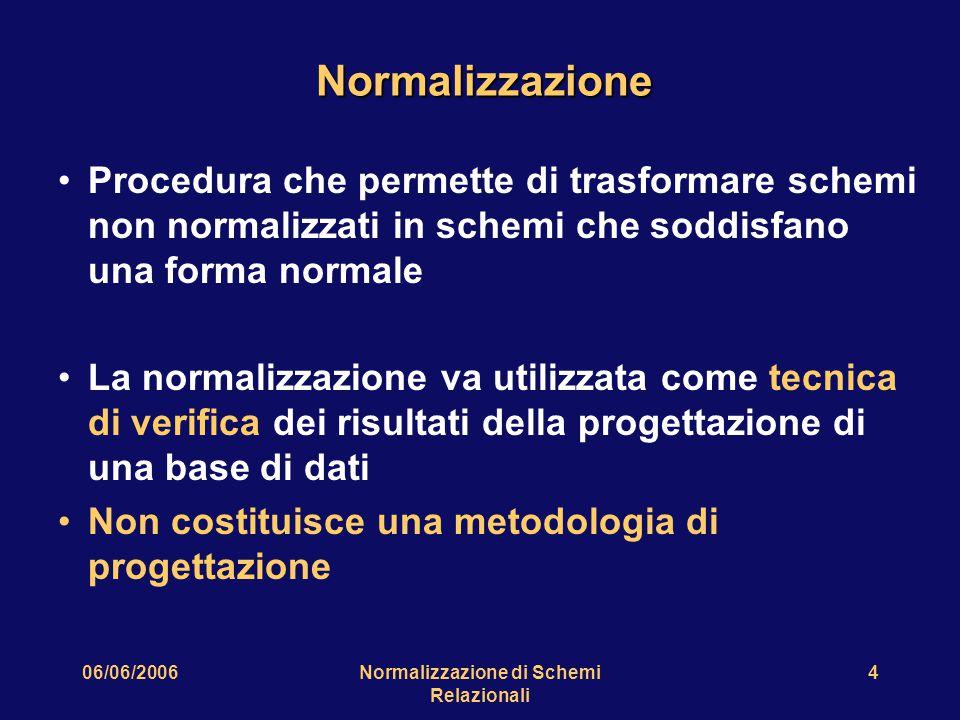 06/06/2006Normalizzazione di Schemi Relazionali 4 Normalizzazione Procedura che permette di trasformare schemi non normalizzati in schemi che soddisfano una forma normale La normalizzazione va utilizzata come tecnica di verifica dei risultati della progettazione di una base di dati Non costituisce una metodologia di progettazione