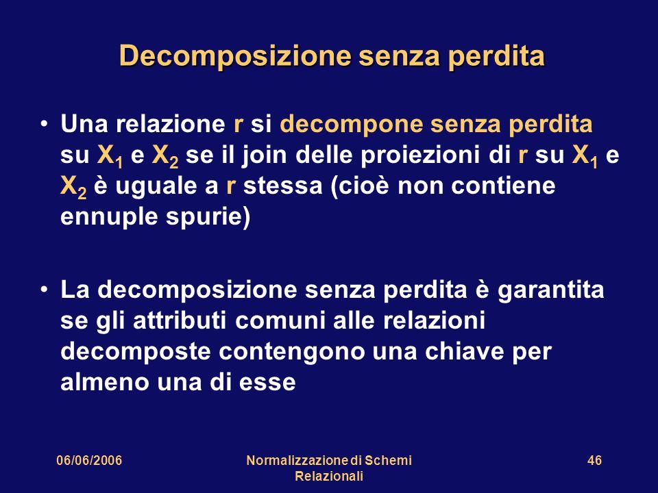 06/06/2006Normalizzazione di Schemi Relazionali 46 Decomposizione senza perdita Una relazione r si decompone senza perdita su X 1 e X 2 se il join delle proiezioni di r su X 1 e X 2 è uguale a r stessa (cioè non contiene ennuple spurie) La decomposizione senza perdita è garantita se gli attributi comuni alle relazioni decomposte contengono una chiave per almeno una di esse