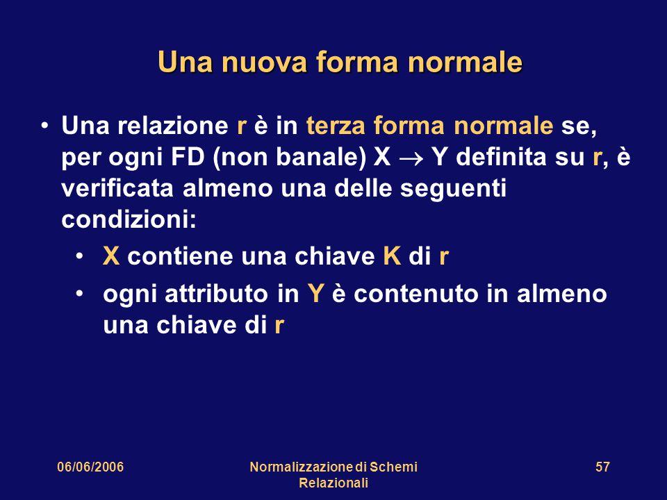 06/06/2006Normalizzazione di Schemi Relazionali 57 Una nuova forma normale Una relazione r è in terza forma normale se, per ogni FD (non banale) X  Y definita su r, è verificata almeno una delle seguenti condizioni: X contiene una chiave K di r ogni attributo in Y è contenuto in almeno una chiave di r
